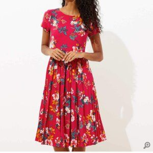 NWT LOFT Floral Pleated Flare Dress